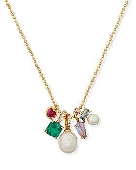 kate spade new york - Multi Charm Cultured Freshwater Pearl Pendant Necklace, 17""