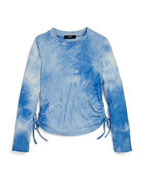 AQUA - Girls' Tie Dyed Ribbed Ruched Side Top, Big Kid - 100% Exclusive