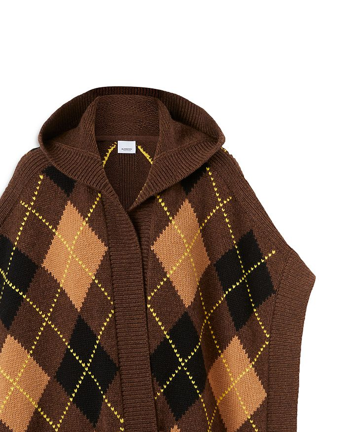 BURBERRY Wools CARLA ARGYLE WOOL & CASHMERE HOODED CAPE