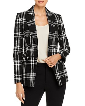 KARL LAGERFELD PARIS - Windowpane Plaid Tweed Jacket