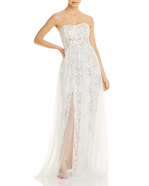 Adian by Aidan Mattox Strapless Embroidered Gown