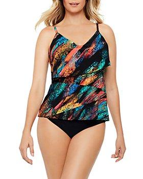 Magicsuit - Viper Chloe Printed Tankini Top & Solid Jersey Shirred Bikini Bottom