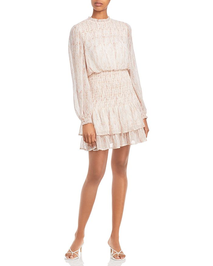AQUA - Dot Long Sleeve Smocked Mini Dress - 100% Exclusive
