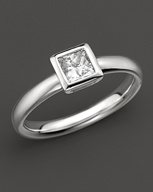 Bezel-set Princess Cut Diamond Ring in 18 Kt. White Gold, 0.50 ct. t.w. - 100% Exclusive