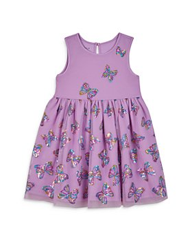 Pippa & Julie - Girls' Sequined Butterfly Mesh Overlay Dress  - Little Kid