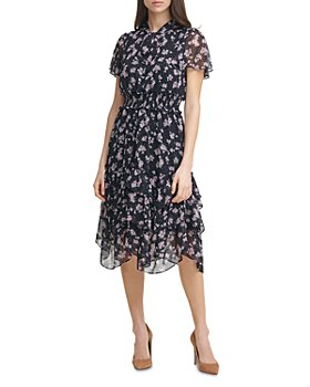 KARL LAGERFELD PARIS - Floral Print Chiffon Smocked Dress