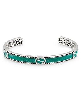 Gucci - Sterling Silver & Enamel Interlocking G Cuff Bracelet