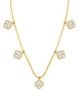Bloomingdale's - Diamond Clover Station Necklace in 14K Yellow Gold, 1.0 ct. t.w. - 100% Exclusive