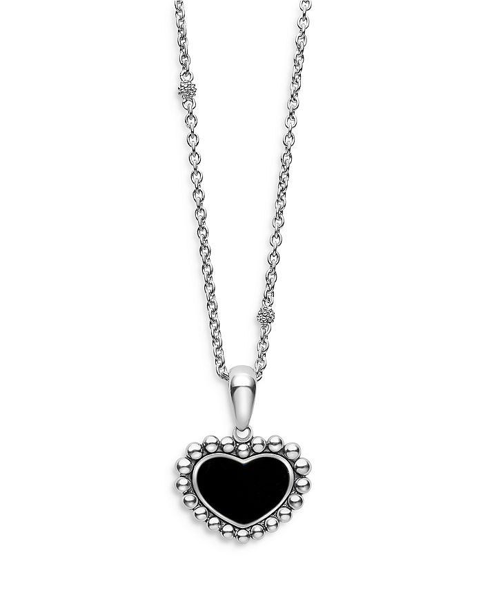 """LAGOS - Sterling Silver Maya Onyx Inlay Heart Pendant Necklace, 16-18"""""""