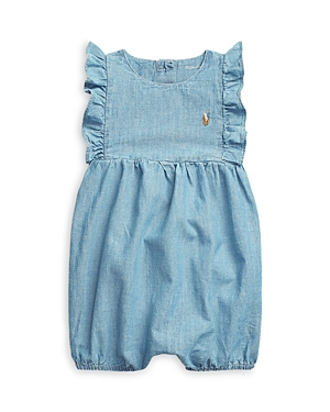 Ralph Lauren GIRLS' RUFFLED BUBBLE ROMPER - BABY
