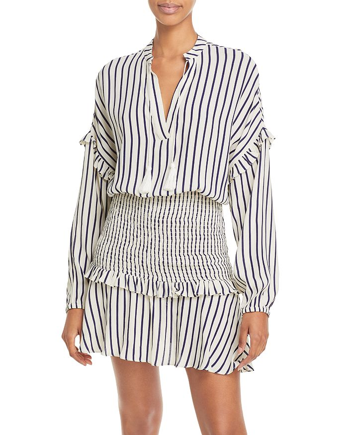 AQUA - Striped Smocked Mini Dress - 100% Exclusive