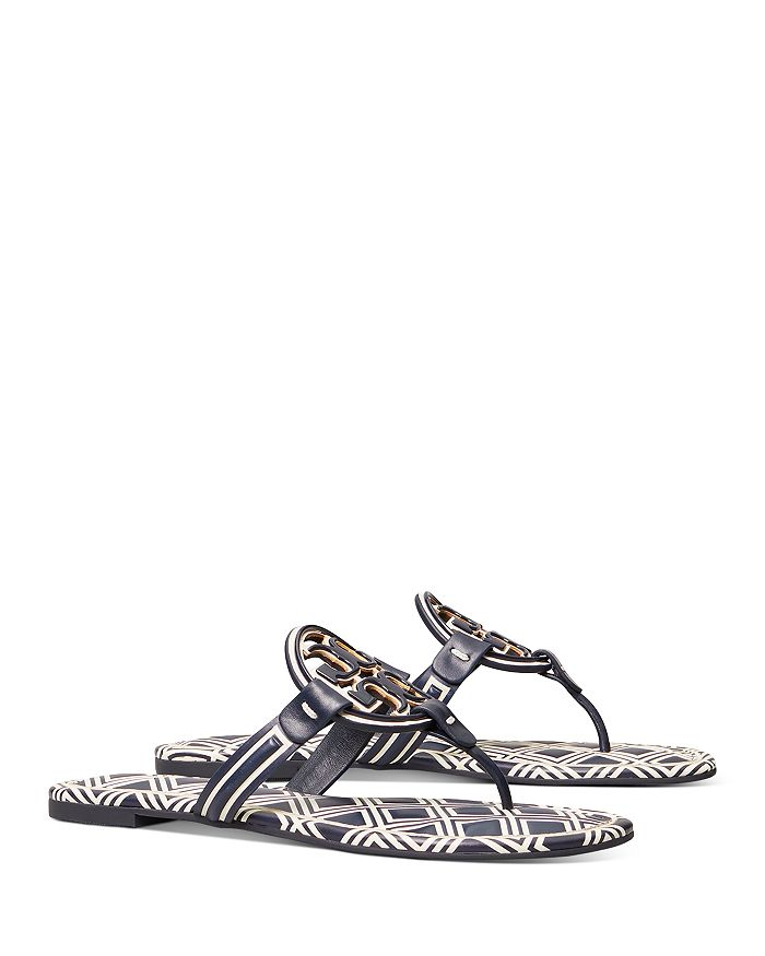 Tory Burch - Women's Miller Double T Leather Thong Sandals