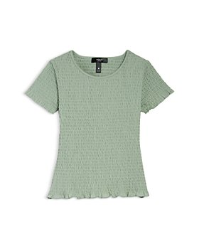 AQUA - Girls' Knit Smocked Tee, Big Kid - 100% Exclusive