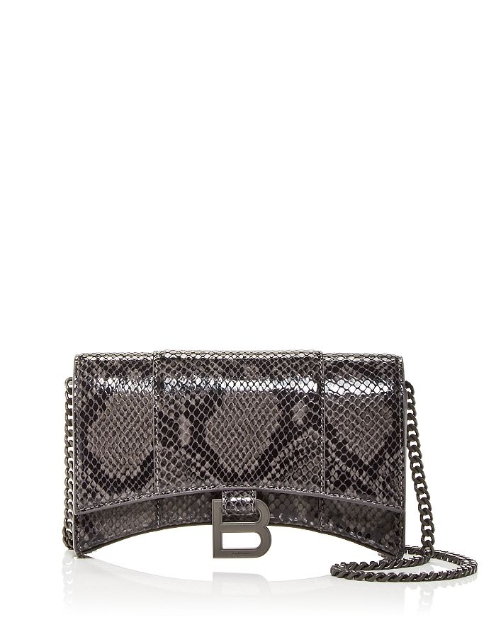 Balenciaga Wallets HOURGLASS CROC EMBOSSED CHAIN WALLET