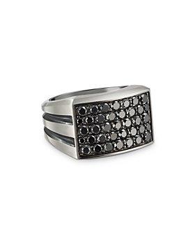 David Yurman - Sterling Silver Beveled Signet Ring with Black Diamonds