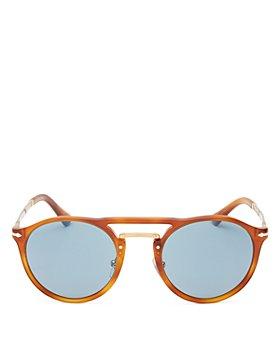 Persol - Men's Brow Bar Round Sunglasses, 50mm