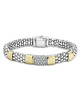 LAGOS - Sterling Silver & 18K Gold High Bar Diamond Bracelet - 100% Exclusive