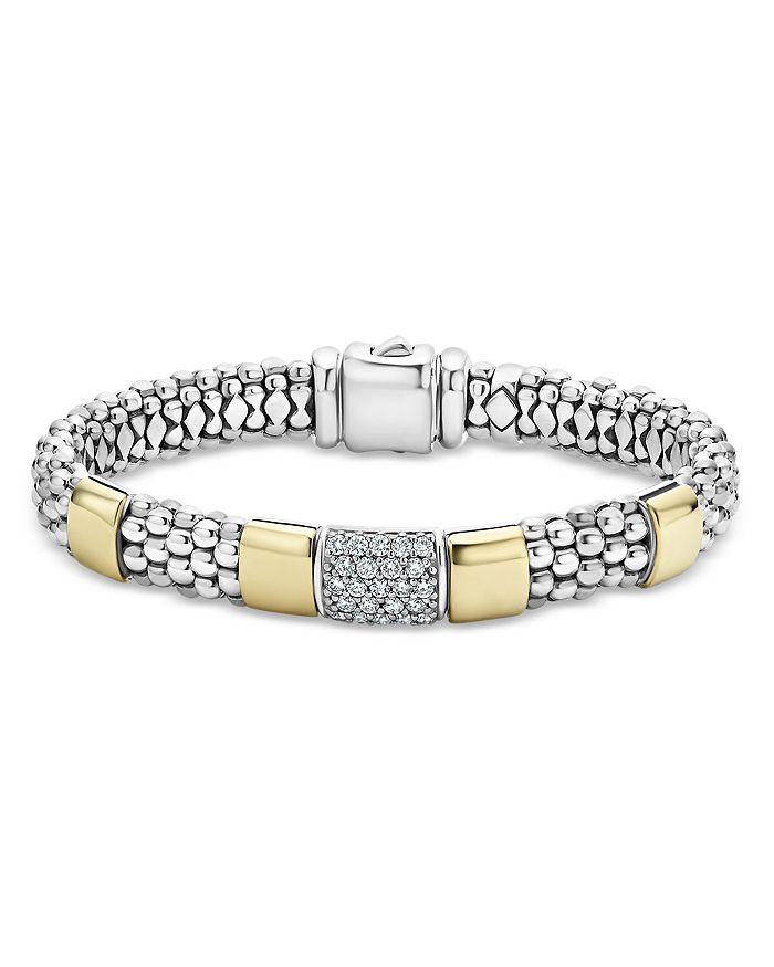 LAGOS - Sterling Silver & 18K Gold High Bar Diamond Bracelet - 100% Exclusive
