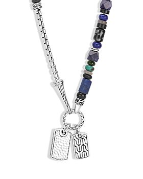"""JOHN HARDY - Sterling Silver Classic Chain Lapis Lazuli, Black Onyx, Grey Moonstone, Chrome Diopside and Turquoise Pendant Necklace, 22"""""""