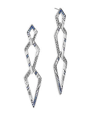 John Hardy Sterling Silver Lahar Blue Sapphire Interlink Drop Earrings