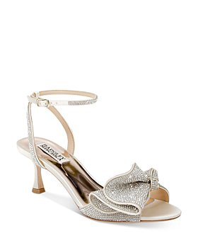 Badgley Mischka - Women's Remi Almond Toe Rhinestone Ruffle Mid Heel Sandals