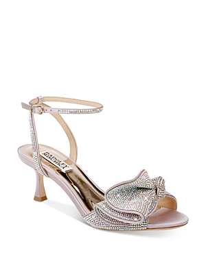 Women's Remi Almond Toe Rhinestone Ruffle Mid Heel Sandals