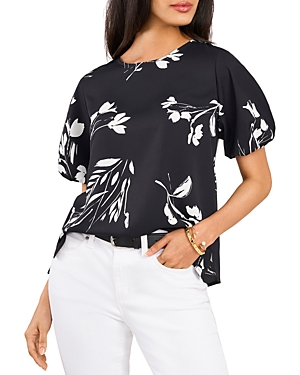 Vince Camuto FLORAL WHISPERS PUFF SLEEVE TOP