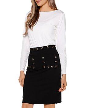 Belldini - Grommet Embellished Pencil Skirt