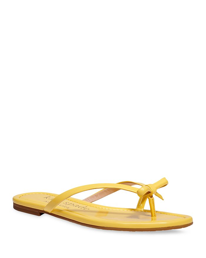 Kate Spade Flip flops KATE SPADE NEW YORK WOMEN'S PETIT BOW PATENT LEATHER THONG SLIDE SANDALS