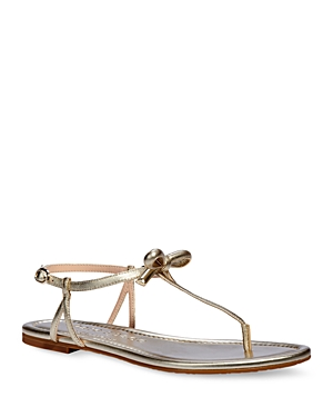 Kate Spade Sandals KATE SPADE NEW YORK WOMEN'S PIAZZA KNOTTED BOW PATENT LEATHER THONG SANDALS
