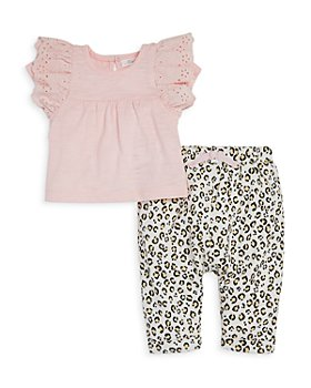Miniclasix - Girls' Eyelet Ruffled Babydoll Top & French Terry Animal Spot Pants - Baby