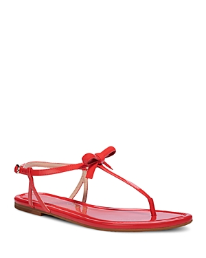 Kate Spade Flats KATE SPADE NEW YORK WOMEN'S PIAZZA KNOTTED BOW PATENT LEATHER THONG SANDALS