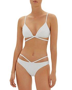 Jonathan Simkhai - Harlen Solid Bikini Top & Emmalynn Solid Strappy Bikini Bottom