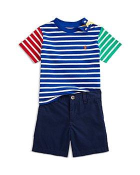 Ralph Lauren - Boys' Striped Jersey Tee, Shorts & Belt Set - Baby