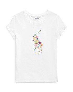 Ralph Lauren - Girls' Floral Pony Cotton Tee - Little Kid, Big Kid