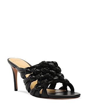 Alexandre Birman Leathers WOMEN'S SOLANGE IN ALMOND TOE KNOTTED LEATHER HIGH HEEL SANDALS
