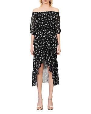 Maje Dresses RENELLE PRINTED OFF-THE-SHOULDER DRESS