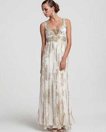Sue Wong - Metallic Silk Jacquard Beaded Gown