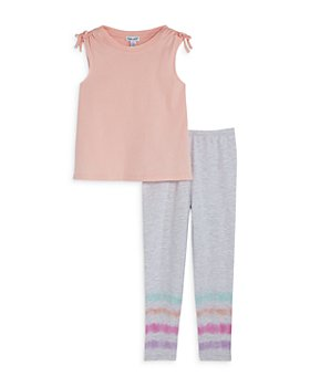 Splendid - Girls' Scrunch Shoulder Top and Dip Dye Leggings Set - Little Kid