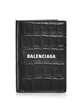 Balenciaga - Cash Croc Embossed Leather Vertical Bifold Wallet