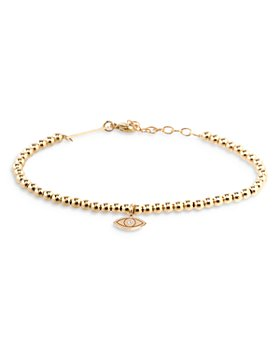 Zoë Chicco - 14K Yellow Gold Diamond Evil Eye Bead Bracelet