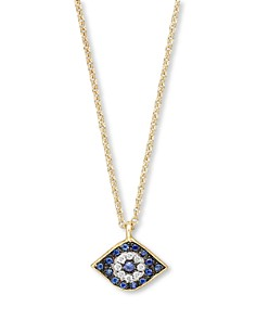Meira T - Diamond, Sapphire and 14 Kt. Yellow Gold Evil Eye Pendant Necklace, 16""