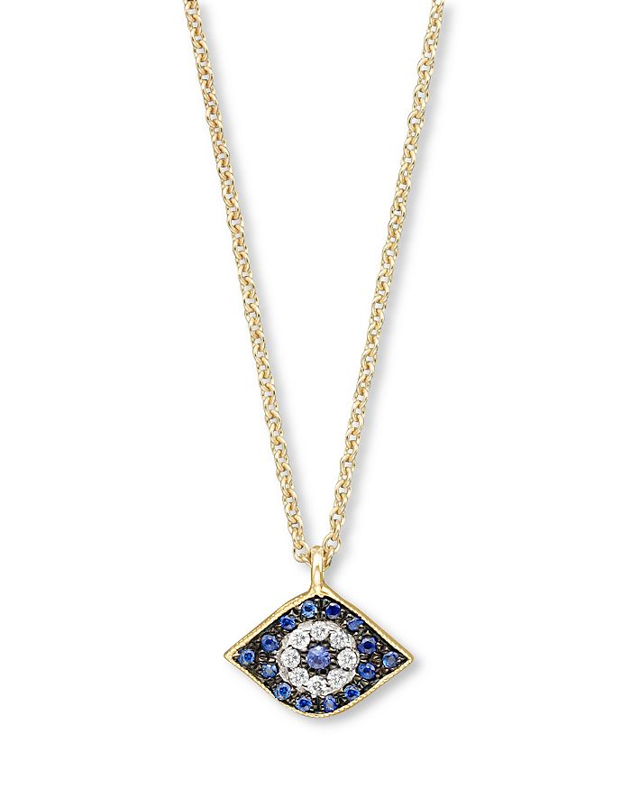 """Meira T - Diamond, Sapphire and 14 Kt. Yellow Gold Evil Eye Pendant Necklace, 16"""""""