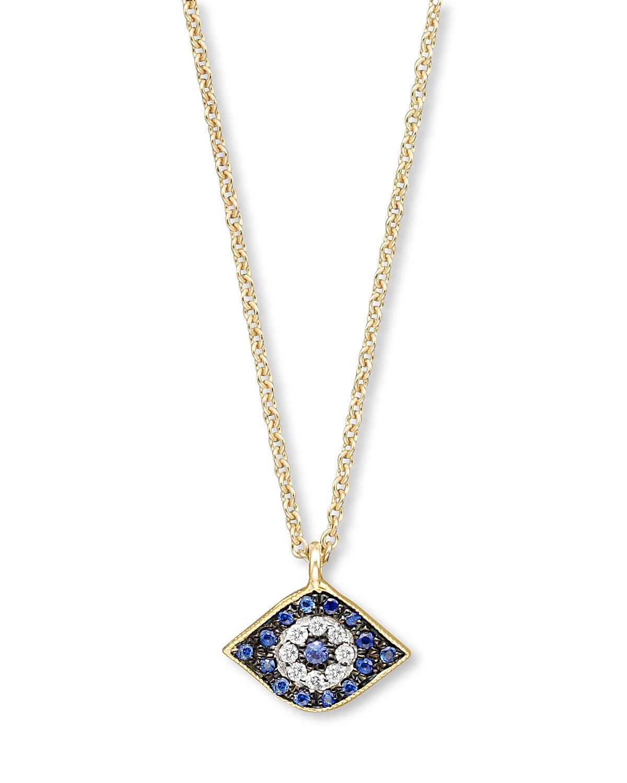 Meira t diamond sapphire and 14k yellow gold evil eye pendant pdpimgshortdescription aloadofball Gallery