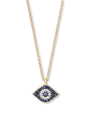Meira T Diamond, Sapphire and 14K Yellow Gold Evil Eye Pendant Necklace, 16