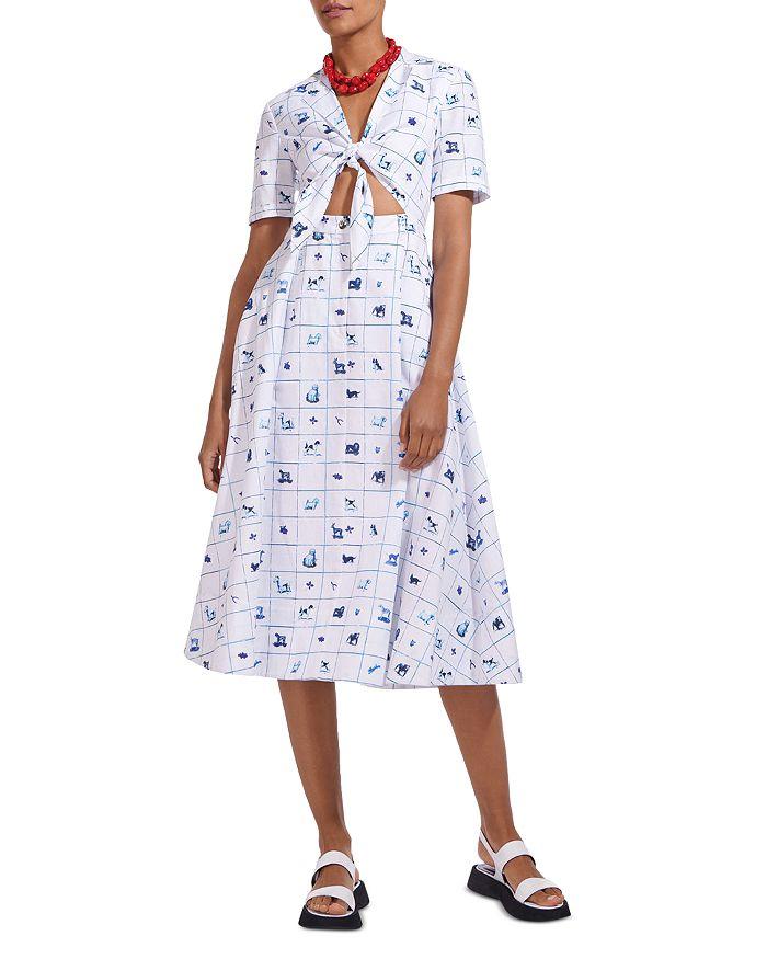 STAUD - Giorgiana Dog Print Tie Front Midi Dress