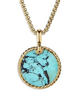 David Yurman - Small Cable Disc Amulet in 18K Yellow Gold with Turquoise