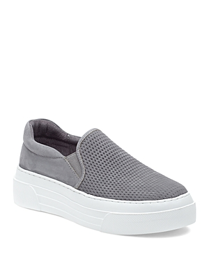 J/Slides Women's Aileen Perforated Nubuck Leather Slip On Platform Sneakers