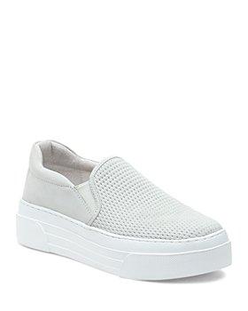 J/Slides - Women's Aileen Perforated Nubuck Leather Slip On Platform Sneakers