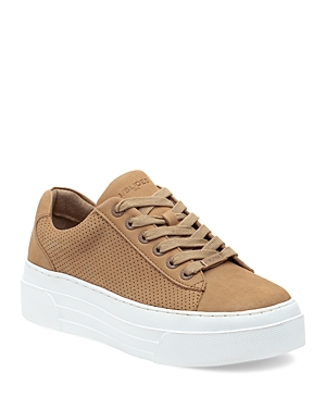 J/Slides Women's Aroma Perforated Nubuck Leather Platform Sneakers